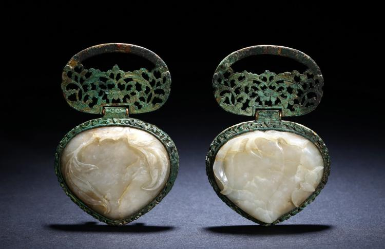 A PAIR OF BRONZE AND WHITE JADE PLAQUES