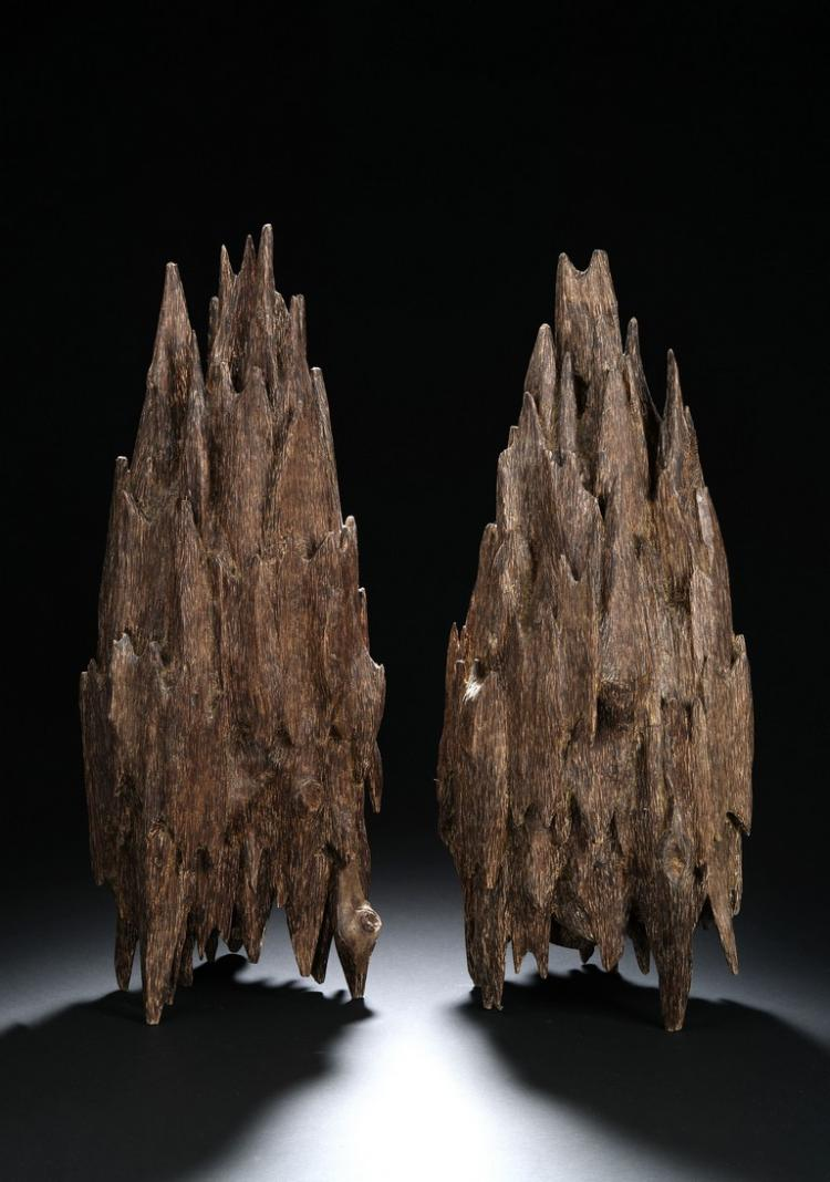 A PAIR OF AGARWOOD MOUNTAIN BOULDERS