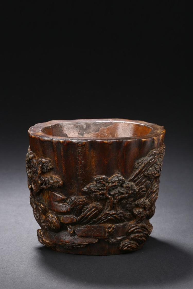 AN AGARWOOD 'LANDSCAPE' BRUSHPOT