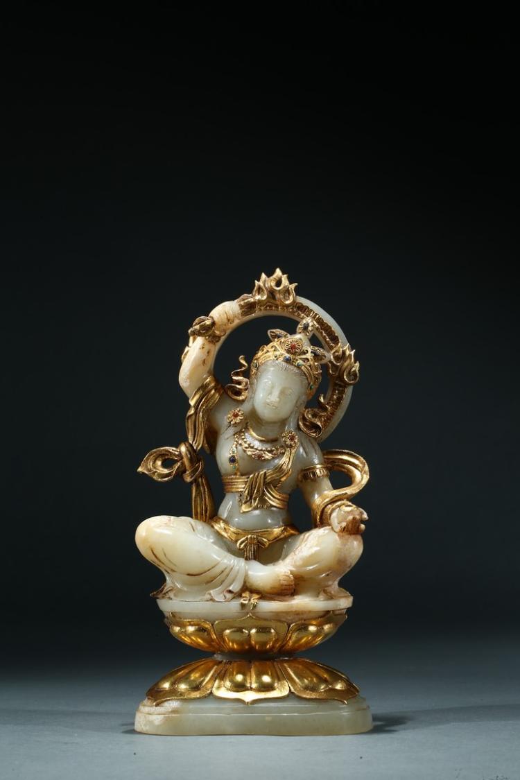 A WHITE JADE GOLD-INLAID BODHISATTVA