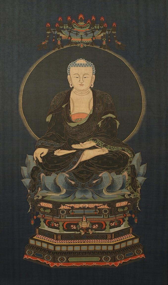 A KESI EMBROIDERED 'SEATED SHAKYAMUNI' PANEL