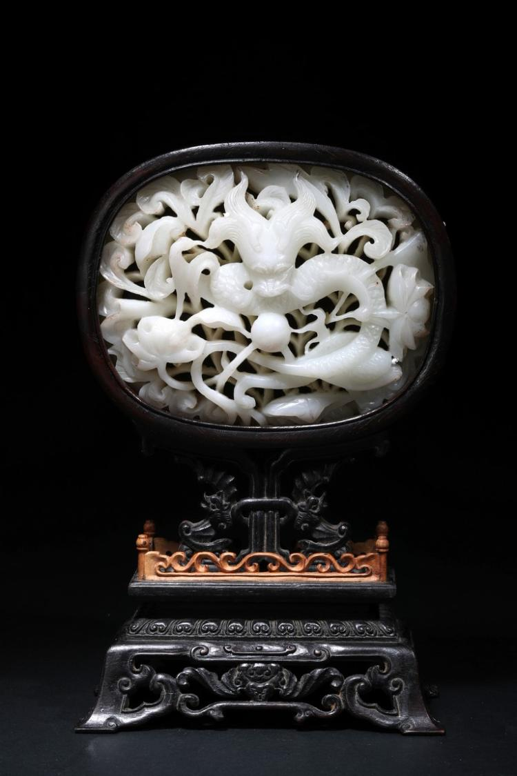 A ZITAN WHITE JADE 'DRAGON' TABLE PANEL