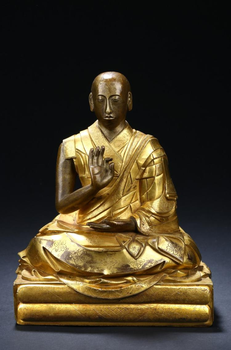 A GILT-BRONZE FIGURE OF THE SECOND PANCHEN LAMA