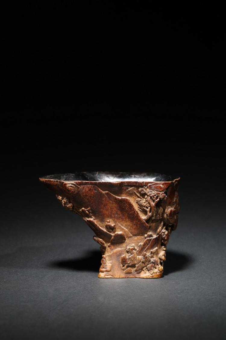 AN AGARWOOD CARVED 'MOUNTAIN' LIBATION CUP