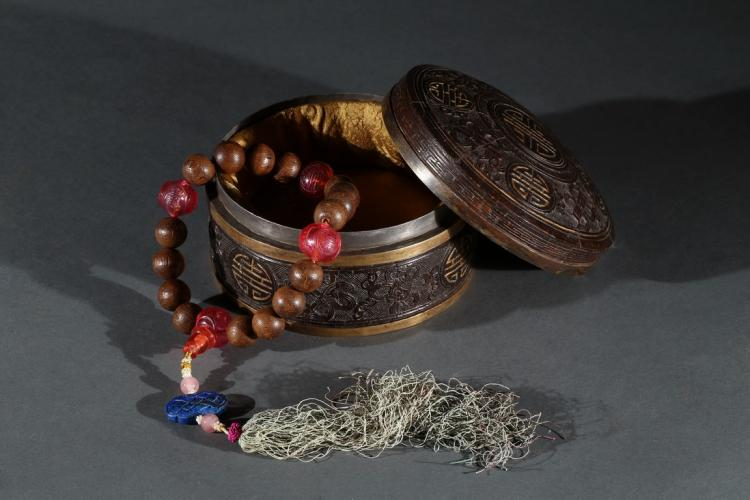 A QI NAN AGARWOOD ROSARY BRACELET WITH BOX