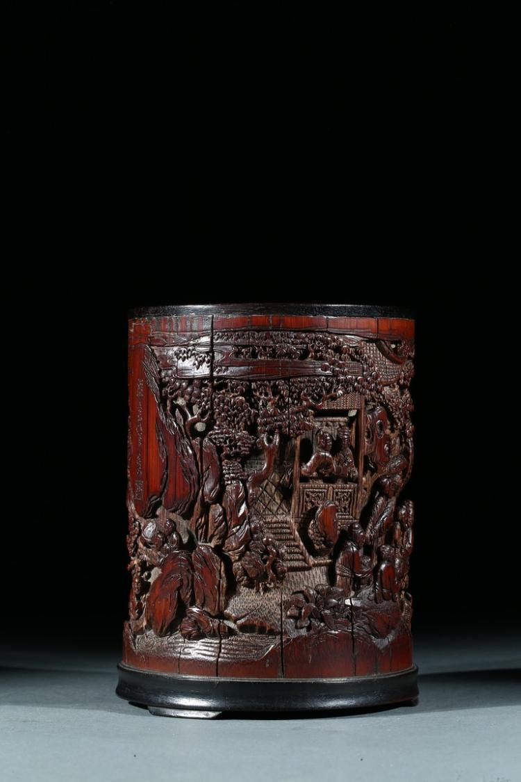A BAMBOO CARVED FIGURES BRUSHPOT
