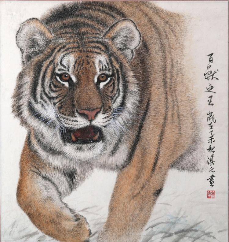 A COLOR AND INK ON PAPER 'TIGER' PAINTING