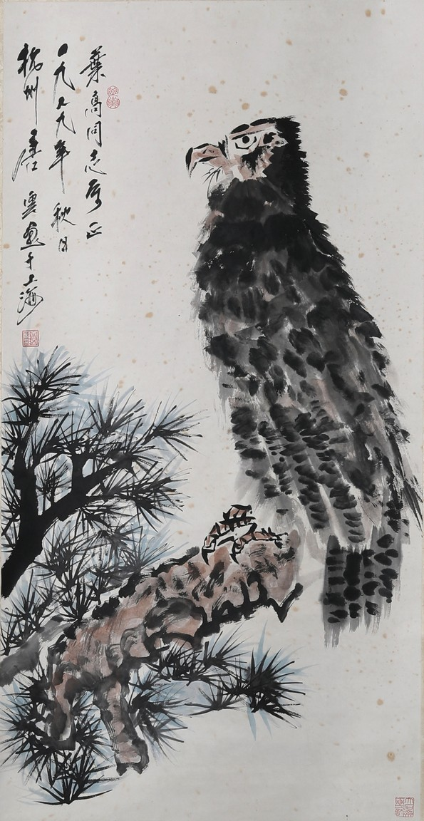 TANG YUN: COLOR AND INK ON PAPER 'EAGLE' PAINTING