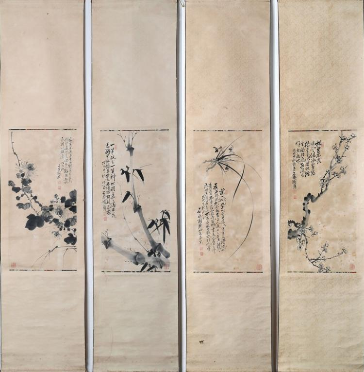 TAO JI: FOUR INK ON PAPER 'FLOWER' PAINTING