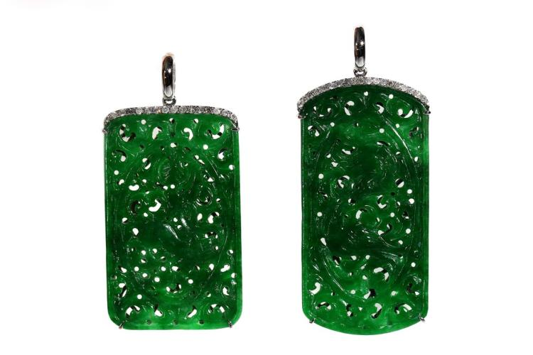 A PAIR OF GREEN JADEITE DIAMOND EARRINGS