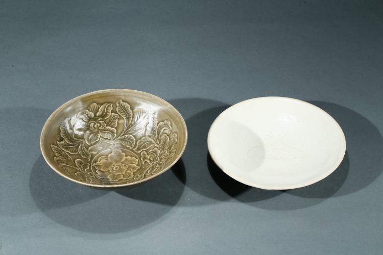 A DING WARE DISH AND YAOZHOU WARE BOWL