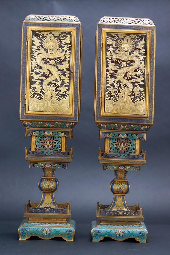 A pair of gilt bronze and cloisonne enamel rectangular lante for Asian furniture emeryville ca