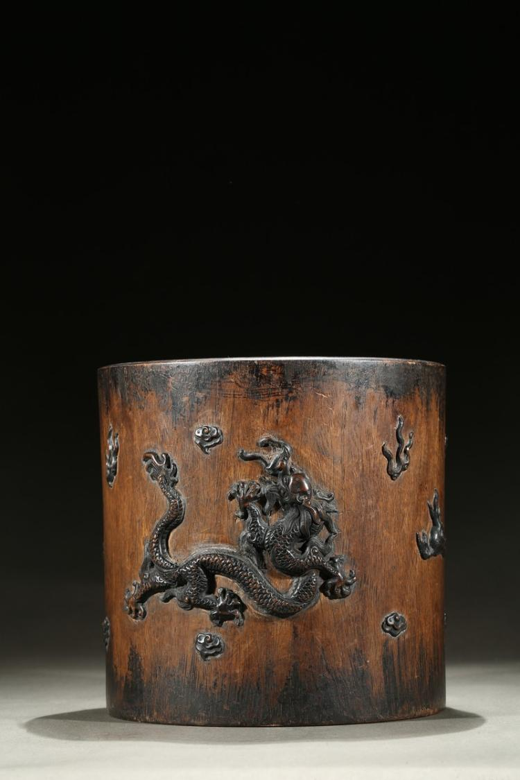 A huanghuali bronze dragon inlaid brushpot for Asian furniture emeryville ca