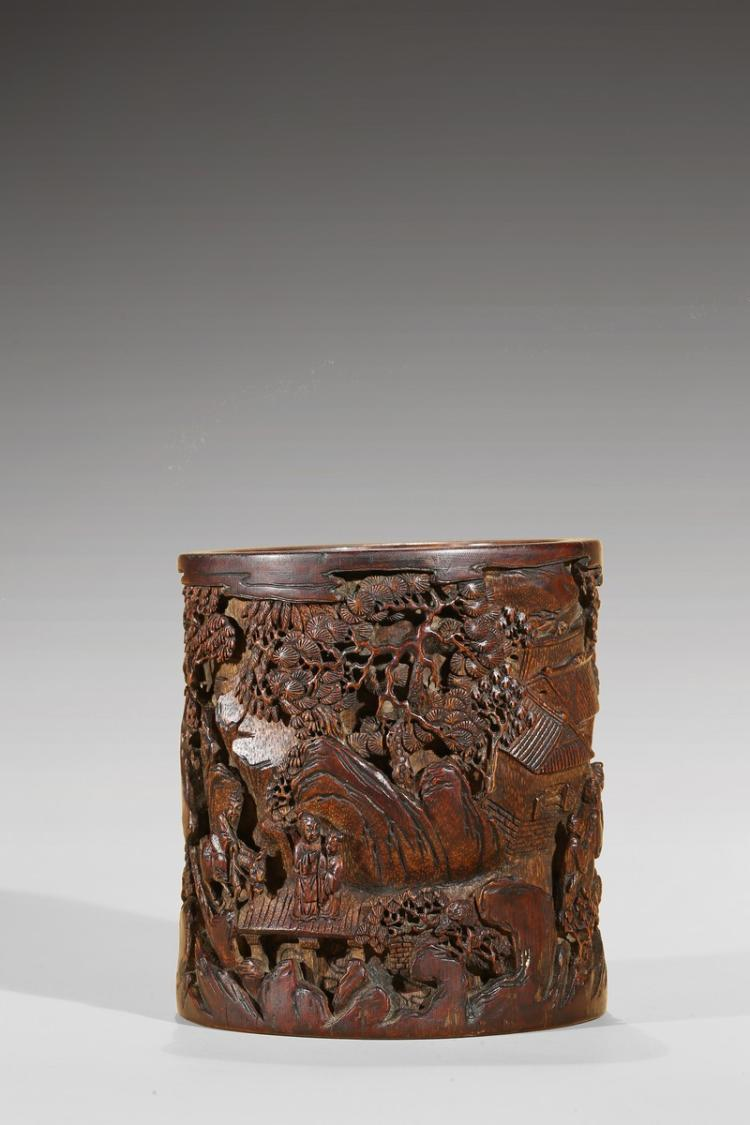 A bamboo carved brushpot for Asian furniture emeryville ca