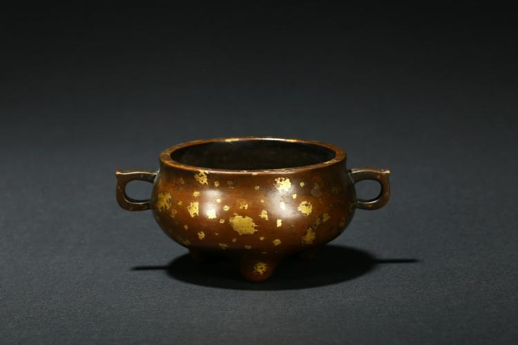 A Bronze Gilt Splashed Xuande Censer