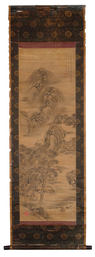 A SCROLL PAINTING OF MOUNTAIN SCENERY