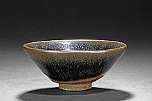 A JIAN WARE BLACK-GLAZED CONICAL BOWL