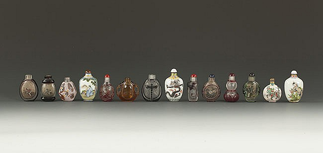 A SET OF FIFTEEN CHINESE SNUFF BOTTLES