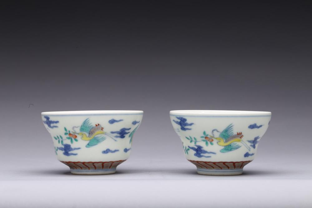A Pair Of Doucai Crane Wine Cups