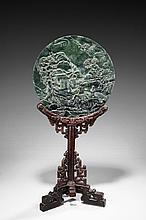 A TABLE SCREEN INSET WITH SPINACH JADE PLAQUE