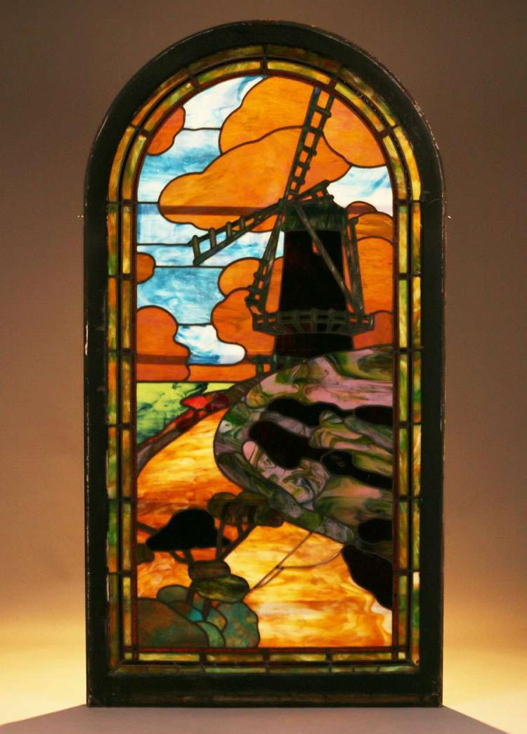 Arts crafts stained glass window dutch windmill c1910 for Arts and crafts glass