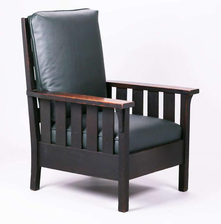 Gustav Stickley Slatted Black Armchair C1903