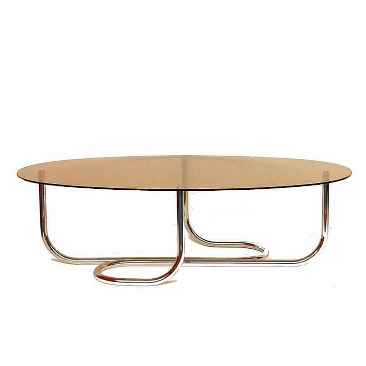 Table basse des ann es 60 pi tement en m tal tubulaire chro for Pietement table metal