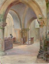 TABARY Céline-Marie (1908-1993), intérieur d'église à « … » dans l'Oise, annotation au revers, sbd,