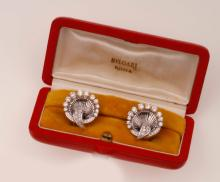 Pair of diamond and platinum earrings. Signed Bulgari. Fitted case