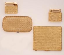 Two gold cigarette case and two gold lighters