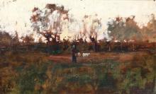 Giuseppe Sacheri (1863 - 1950), Paesaggio con figura