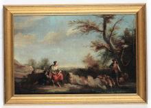 Giuseppe Zais (Forno di Canale 1709 - Treviso 1784), attribuito a, Paesaggi con pastori alla fonte