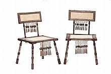 Carlo Bugatti (1856-1940) Coppia di sedie da viaggio