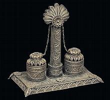 Calamaio in filigrana d'argento, Manifattura italiana del XIX secolo