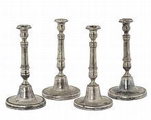Quattro candelieri Carlo X in argento, Napoli XIX secolo