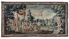 Importante arazzo con trame in lana e seta e ordito in lana, Inghilterra, Manifattura londinese di Mortlake, verso il 1735