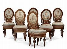 Sei sedie in noce con gambe tornite, Vienna inizio XIX secolo