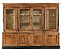 Libreria in legno tenero decorata a finto legno, Toscana inizi XIX secolo