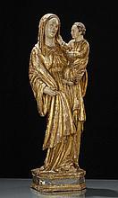 Madonna con Bambino in legno policromo e dorato, Italia XVIII secolo