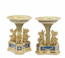 Importante coppia di alzate in porcellana, manifattura Imperiale. Russia metà XIX secolo