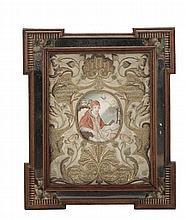 Ricamo con dipinto ovale di pontefice su pergamena entro cornice a specchio, XVIII secolo