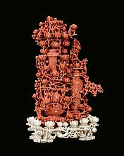A carved red coral with vases and flowers, China,