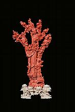 A red coral 'four Guanyin with blooming