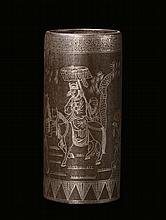 An iron and niello silver brush-holder, China,
