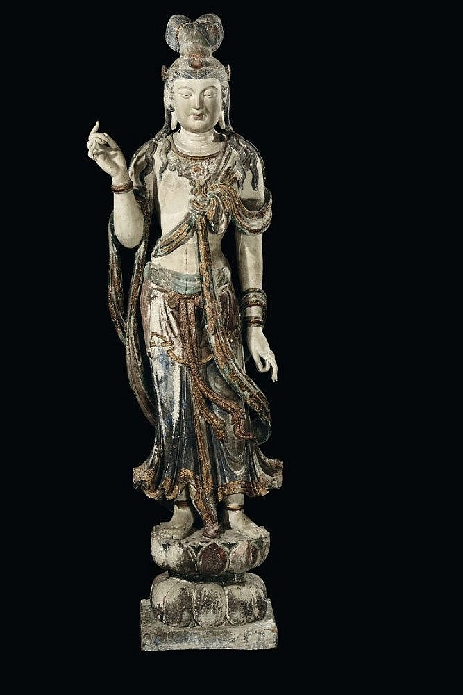 A large and important polychrome carved wood