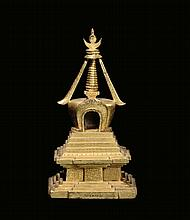 A gilt-bronze sculpture, China, Qing Dynasty,