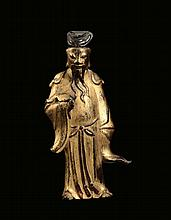 A gilt-bronze standing Lohan, China, Ming Dynasty,