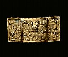 A gilt-bronze belt hook, China, Qing Dynasty,