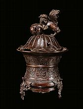 A gilt bronze censer with engraving, China, Qing