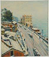 Berto Ferrari (1887-1965) Neve a Sturla olio su